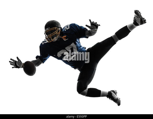 one  american football player man catching receiving in silhouette studio isolated on white background - Stock Image