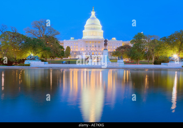 USA Washington DC The Capital Building at dusk - Stock Image