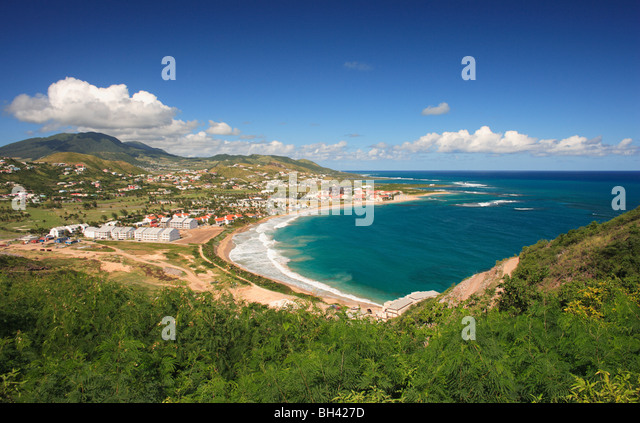 Seascape and beach, St Kitts, West Indies, Caribbean - Stock Image