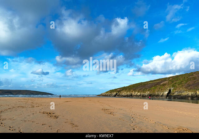 sunny winter day on crantock beach near newquay in cornwall, england, britain, uk. - Stock Image