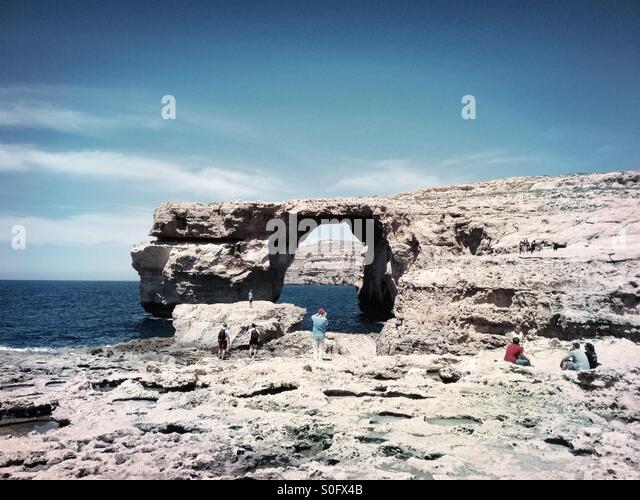 Azure window, Gozo, Malta. Before 2017 collapse. - Stock Image