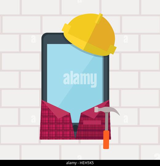 Phone in Working Clothes Design Flat. Phone in working clothes design flat. Communication device in the form of - Stock-Bilder