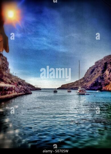 Nearing sunset in small fishing village on Island in the Mediterranean - Stock Image