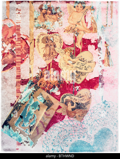 Polaroid transfer of vintage Valentine cards in a collage. - Stock Image