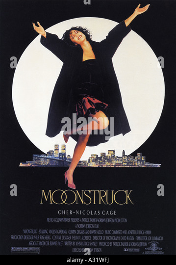 MOONSTRUCK poster for 1987 Patrick Palmer film with Cher - Stock Image