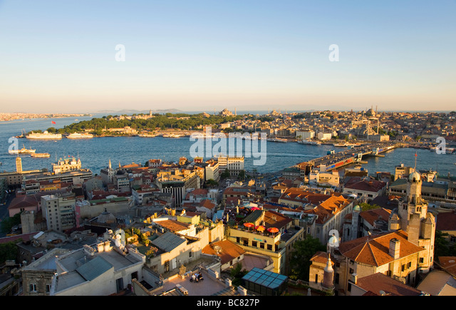 The Golden horn viewed from the Galata Tower Istanbul Turkey - Stock Image