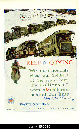 American First World War food waste propaganda. Produced by the United States Food Administration. Shows food trucks - Stock Image