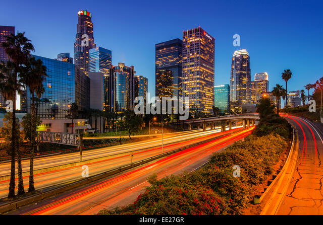 Downtown skyline at sunrise, Los Angeles, California, USA - Stock Image