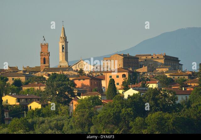 Europe mediterranean italian Italy Tuscany Siena Province Pienza village city hillside stucco minaret spire last - Stock Image
