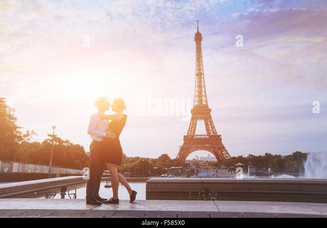 honeymoon in Paris, romantic vacations for loving couple in France - Stock Image
