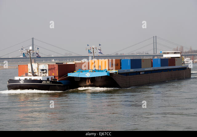 Joline II Frankenbach Ro-Ro Service barges, river Rhine, Dusseldorf, Germany. - Stock Image