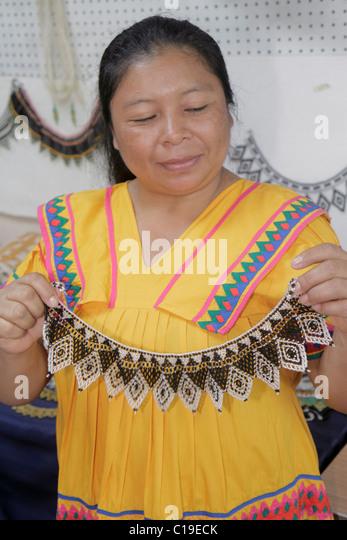Panama City Panama Panama Viejo Ruinas Panama La Vieja vendor stall market handicrafts shopping souvenirs Kuna Indian - Stock Image