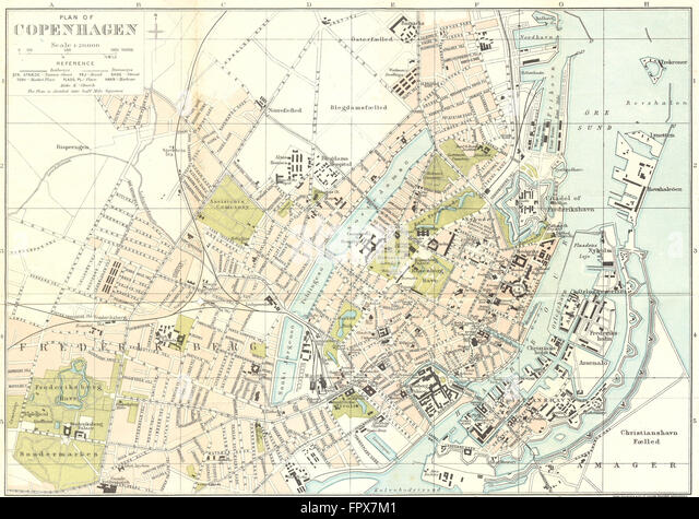 DENMARK: Town Plan Copenhagen: BRADSHAW, c1879 antique map - Stock Image