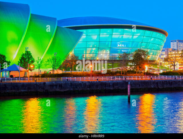 Twilight view of The Clyde Auditorium and the Hydro, Glasgow, Scotland, United Kingdom - Stock-Bilder