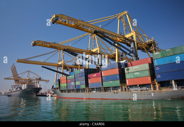 Container Port, Port of Barcelona, Barcelona, Catalonia, Spain, Europe - Stock Image