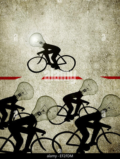 cyclists with bulb heads illustration creativity concept - Stock-Bilder