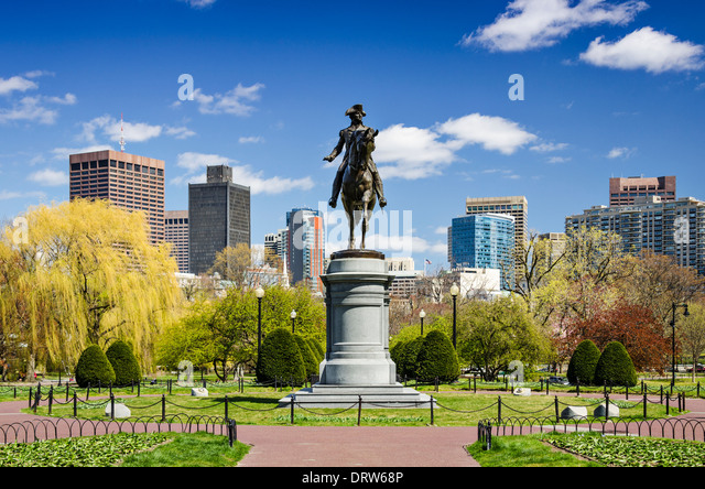 Boston, Massachusetts at the Public Garden in the spring time. - Stock Image