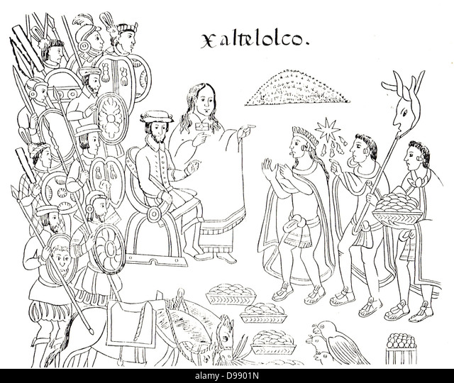 from Diego Muñoz Camargo's History of Tlaxcala (Lienzo Tlaxcala), c. 1585, showing La Malinche and Hernán - Stock Image