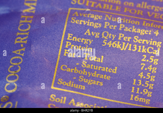 Chocolate Nutritional Information label. - Stock Image