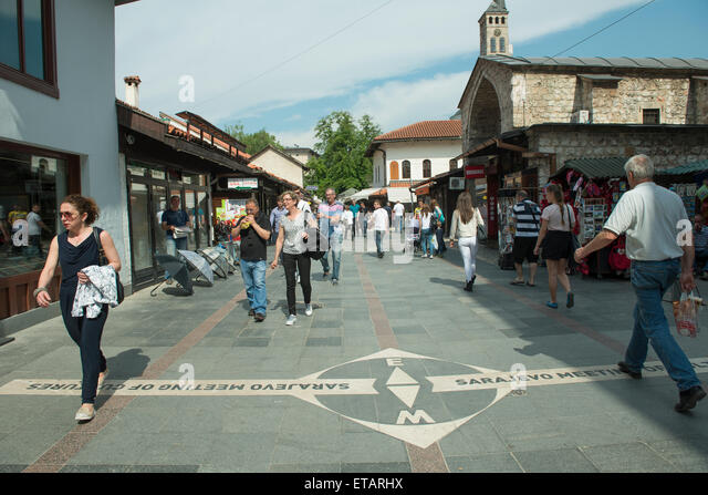 The 'Sarajevo meeting of cultures' line in the downtown. This line, separates the ottoman quarter from the - Stock-Bilder