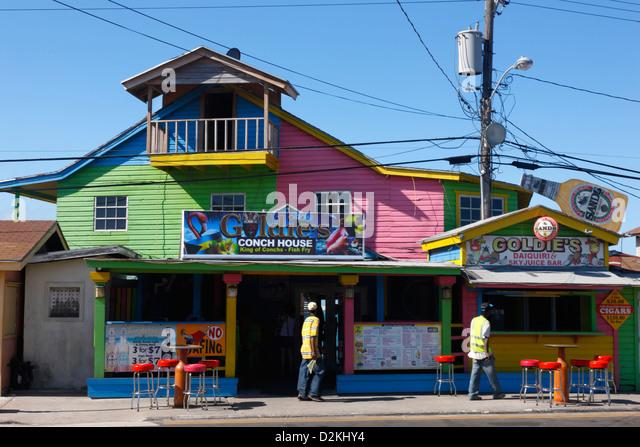 Bahamas nassau restaurant stock photos bahamas nassau for Fish fry nassau
