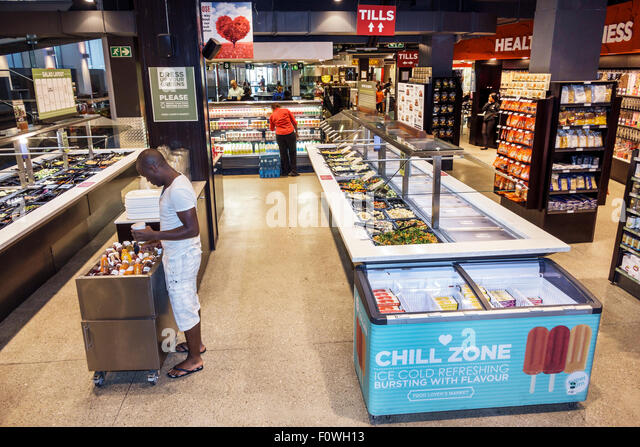 Cape Town South Africa African City Centre center St. Georges Mall Food Lover's Market inside shopping display - Stock Image