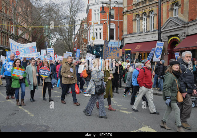London, UK. 04th Mar, 2017. Tens of thousands of people march to Westminster, in support of the NHS. Credit: Dario - Stock Image