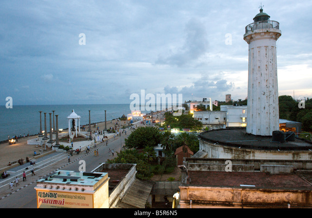 View of the lighthouse and waterfront from the terrace of the Promenade hotel in Pondicherry India. - Stock-Bilder