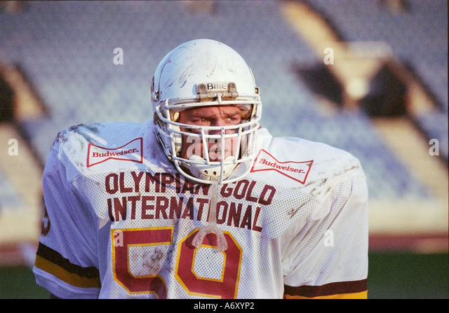 American Football player at Crystal Palace stadium LONDON UK - Stock Image