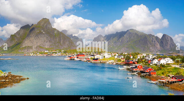 Lofoten Islands, village of Reine in Moskenes, Norway - Stock-Bilder