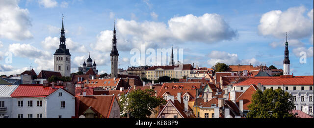 Panoramic view of the city of Tallinn in Estonia. The Old Town is one of the best preserved medieval cities in Europe - Stock Image