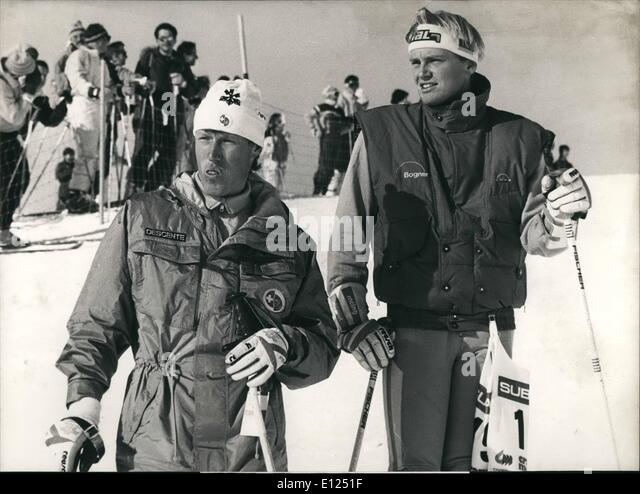 Jan. 01, 1987 - Crans Montana: Ski-World Championship; Pirmin Zurbriggen from Switzerland and the German Downhill - Stock Image