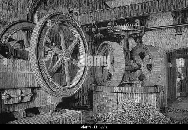 Crushing machines in sanding factory, woodcut, historical engraving, 1882 - Stock Image