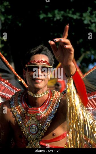 St Maarten Carnival man in costume - Stock Image