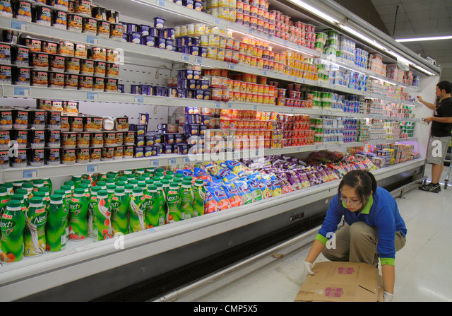 Santiago Chile Providencia Avenida Rancagua Express Lider grocery store supermarket chain food business shopping - Stock Image
