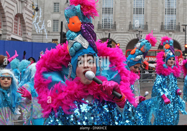 London,UK,1st January 2014,Colourful costumes at the London's New Year's Day Parade 2014 Credit: Keith Larby/Alamy - Stock Image