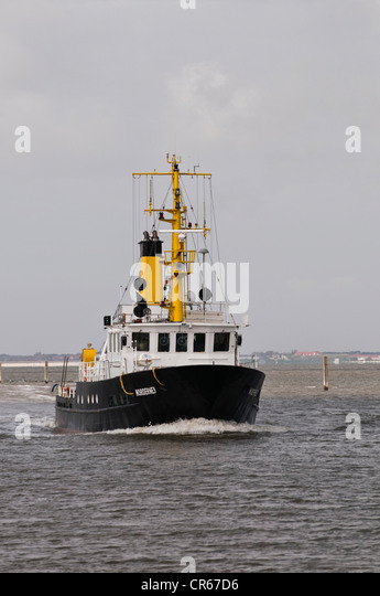 Special survey ship 'Norderney', for waterway soundings and surveys in the tidal area, North Frisia, Norddeich, - Stock Image