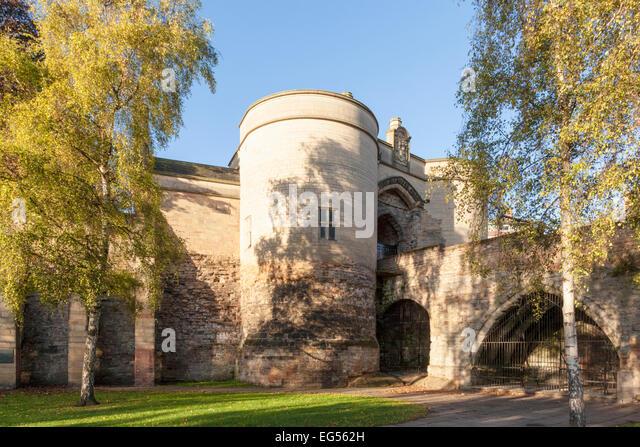 English castle: The Gate House and bridge, Nottingham Castle, Nottingham, England, UK - Stock Image