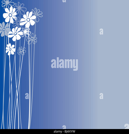 Creative design with flowers on a blue background - Stock-Bilder