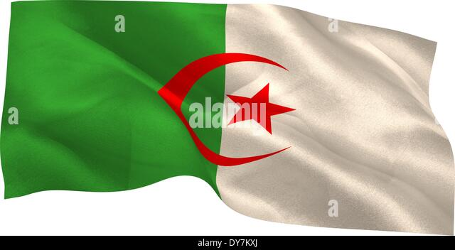 Digitally generated algeria national flag - Stock Image