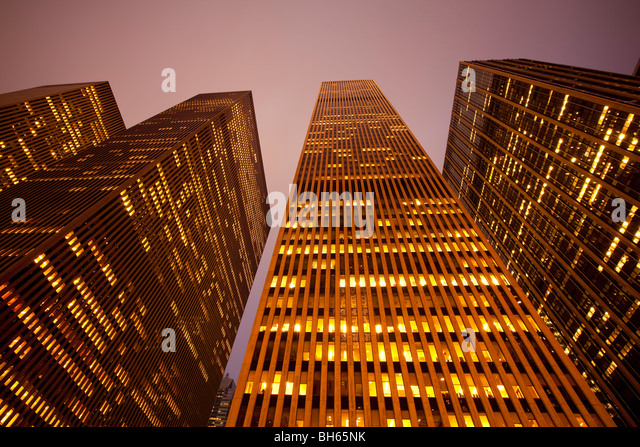 USA, New York City, Manhattan, skyscrapers along Sixth Avenue - Stock Image