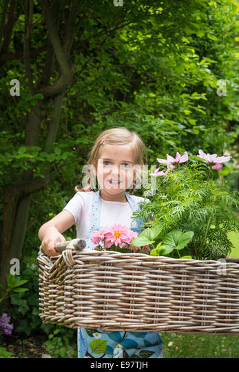 Girl gardening, carrying flowers in basket - Stock Image