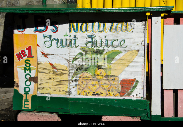Old weathered Natural Fruit Juice sign, Roseau Dominica in the Eastern Caribbean - Stock Image
