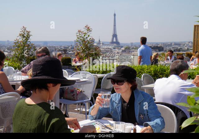 Paris France Europe French 9th arrondissement Boulevard Haussmann Au Printemps department store rooftop terrace - Stock Image