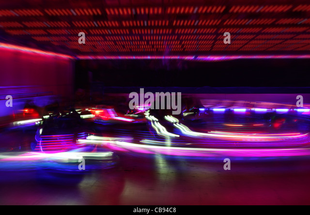 dodgem cars in motion - Stock Image