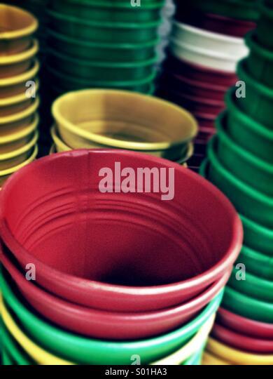 Colour plant pots - Stock Image