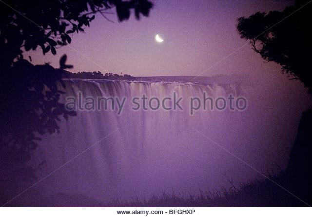 Moonrise over Victoria Falls, Zimbabwe - Stock Image