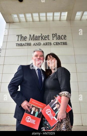 Armagh City, UK. 15th February 2017. Sinn Féins Cathal Boylan and Michelle Gildernew in Armagh for the 2017 - Stock Image