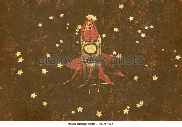 Vintage textured old craft rocket in antique faded tones amongst a flurry of toy stars. Moon landings and childhood - Stock Image