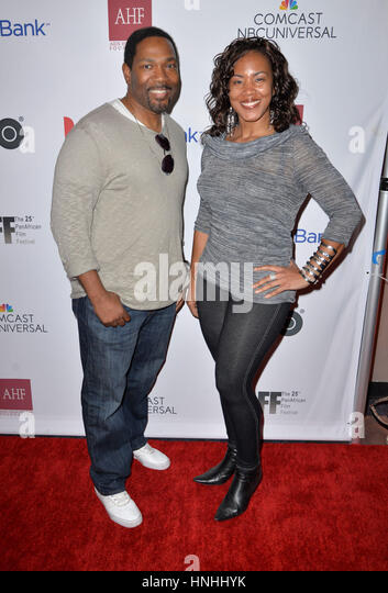LOS ANGELES, CA- FEBRUARY 12: Brian K. Jackson, Rayshon Harris at the '90 Days' Movie Premiere at the Pan - Stock Image